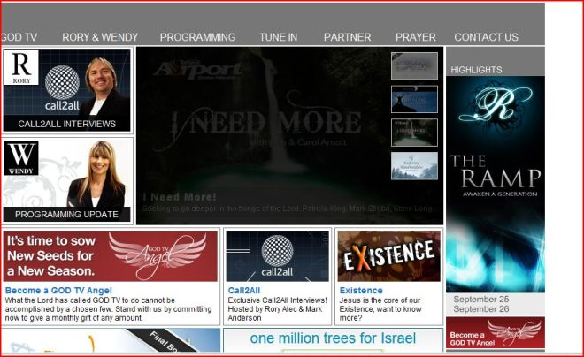 The Million Trees Project on God TV Frontpage